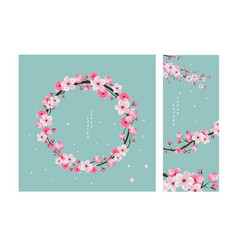 Herry blossom collection greeting cards vector