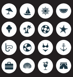 Hot icons set collection conch tube vitamin vector