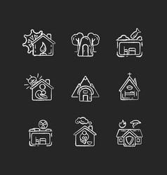 human shelters chalk white icons set on black vector image