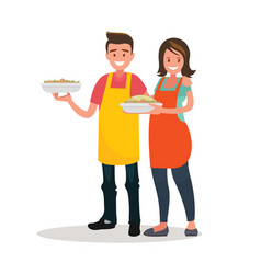 husband and wife are preparing together vector image