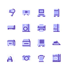 icons household appliances bluewith a dark stroke vector image