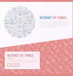 Internet of things concept in circle vector