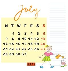 july 2014 kids calendar vector image