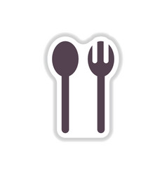label icon on design sticker collection spoon fork vector image