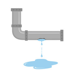 Leaking pipe with flowing water vector