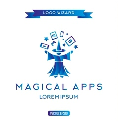 Logo magician manages gadgets electronic vector image