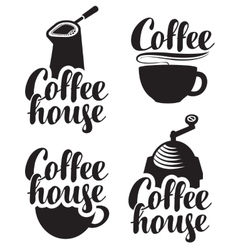 Logos for coffee house with a cup and grinder vector