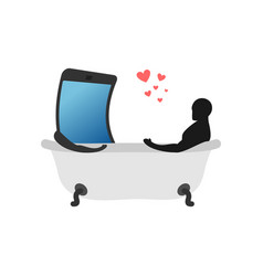 lover of gadgets man and smartphone in bath wash vector image