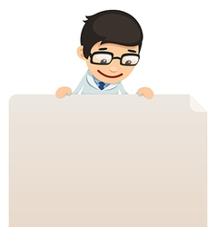 Male doctor looking at blank poster on top vector