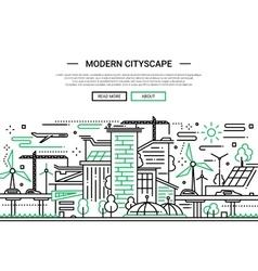 Modern Cityscape - line design website banner vector