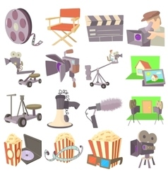 Movie cinema symbols icons set cartoon style vector