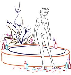 Naked woman in spa salon vector image