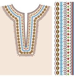 Neckline ethnic print design and border pattern vector image