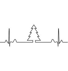 new year eve tree and heartbeat in one line vector image