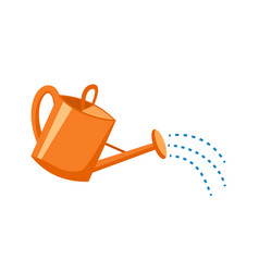 Orange plastic watering can with water vector