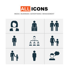 Person icons set with job woman family thinker vector