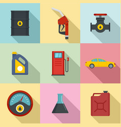 Petroleum refill icons set flat style vector