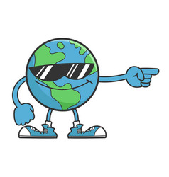 planet earth cartoon character with sunglasses vector image