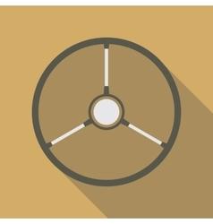 Retro Car Steering Wheel Icon Flat Symbol vector image