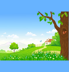 Rural summer scene vector