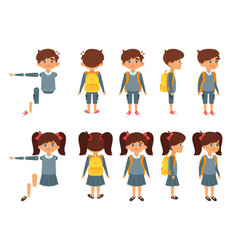 school boy and girl for animation vector image