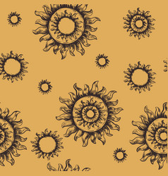seamless pattern sun the symbol of the sun vector image