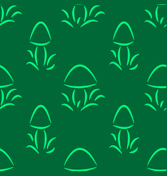 seamless pattern with doodles of mushrooms vector image
