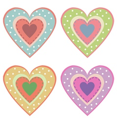 set of cute hearts vector image