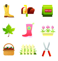 set of nine color icons - rubber boot vector image