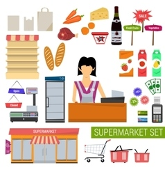 set supermarket flat icons vector image