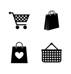 Shopping bag simple related icons vector