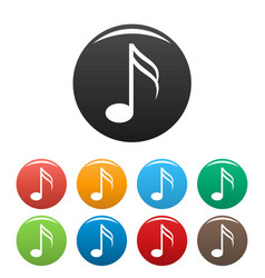 sixteenth music note icons set color vector image
