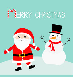 snowman santa claus wearing red hat costume big vector image