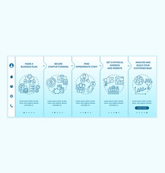 Startup launch steps onboarding template vector
