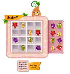 Sudoku game fruits fun vector