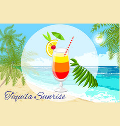 Tequila sunrise cocktail on the seaside vector