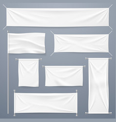 textile banners white blank cloth horizontal vector image