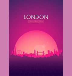 Travel poster futuristic retro skyline london vector
