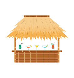 tropical tiki bar hut with cocktail drinks on vector image