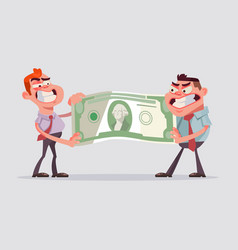 two men office workers character divide money vector image