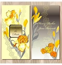Wedding card with yellow iris flower bouquet vector