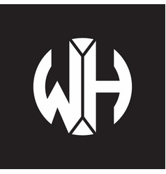 wh logo monogram with piece circle ribbon style vector image