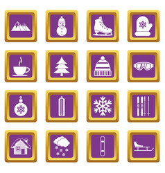 winter icons set purple vector image