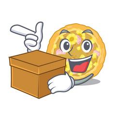 with box hawaiian pizza in mascot shape vector image