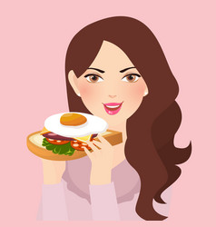 woman holding fresh sandwich in her hand with egg vector image