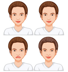 woman with different facial skin vector image