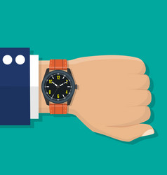 wristwatch on the hand vector image