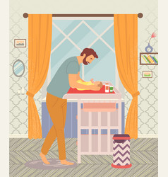 young happy father and baby a man take care vector image