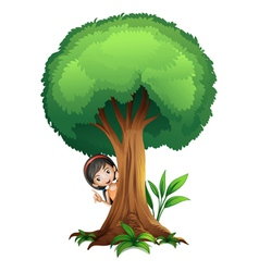 a girl and a tree vector image vector image