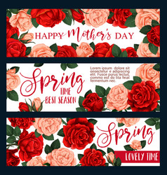 banners with spring flowers vector image